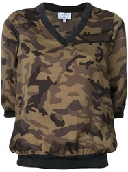Lydia L. Cropped Camouflage Top Women Polyester 34 Green