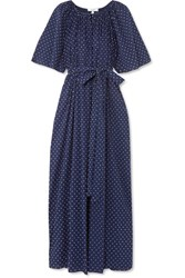 Marysia Moonstone Embroidered Cotton Voile Dress Navy