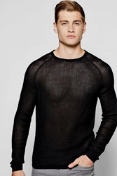 Boohoo Neck Draped Jumper With Open Knit Black
