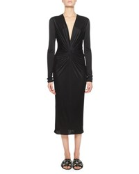 Lanvin Long Sleeve Plunging Twist Front Dress Black