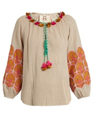 Figue Coco Embroidered Cotton Top Grey Multi