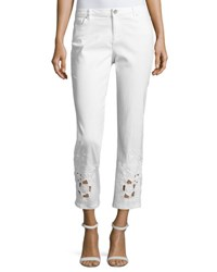 Elie Tahari Kiana Ankle Jeans W Beaded Lace Cuffs White