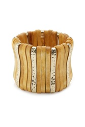 Kenneth Jay Lane Wood Brass Statement Bangle Gr. One Size