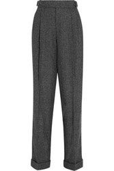 Tom Ford Prince Of Wales Checked Wool Silk And Cashmere Blend Tapered Pants Dark Gray