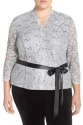 Alex Evenings Sequin Ribbon Belt Lace Blouse Plus Size White