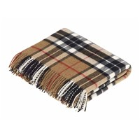 Bronte By Moon Merino Lambswool Tartan Throw Camel Thompson