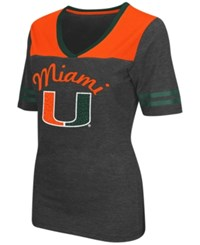 Colosseum Women's Miami Hurricanes Twist V Neck T Shirt Charcoal Orange