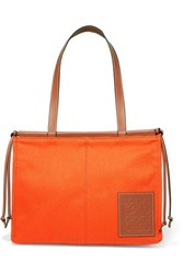 Loewe Cushion Leather Trimmed Canvas Tote Orange