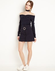 Pixie Market Navy Circle Belt Mini Skirt