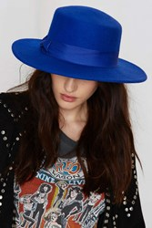 Nasty Gal Some Like It Hat Wool Fedora Blue