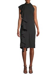 Walter Baker Johanna Ruffle Sheath Halter Dress Black
