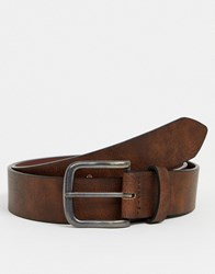 New Look Faux Leather Casual Belt In Brown