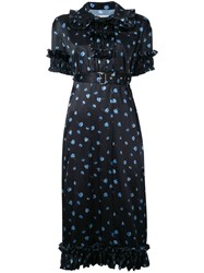 Akiko Aoki Floral Print Pleated Dress Women Polyester M Blue