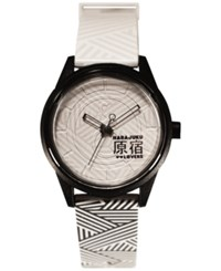 Harajuku Lovers Unisex Black And White Designed By Gwen Stefani Printed Strap Watch 40Mm Hl2621