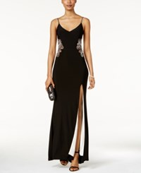 Betsy And Adam Beaded Paisley Illusion Gown Black Ivory