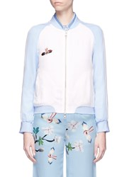 Helen Lee Bunny Floral Embroidered Bomber Jacket Multi Colour