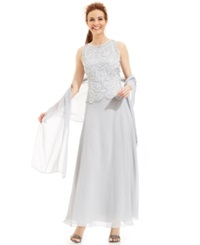 J Kara Beaded Bodice Chiffon Gown And Shawl