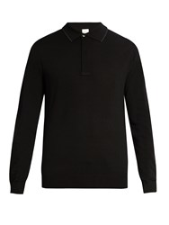 Paul Smith Long Sleeved Wool Polo Shirt Black