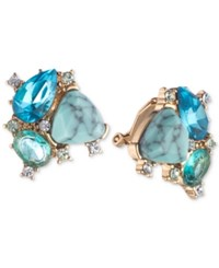Carolee Gold Tone Crystal And Multi Stone Clip On Stud Earrings Lt Blue