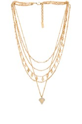 Luv Aj Moonstone Multi Charm Necklace Metallic Gold