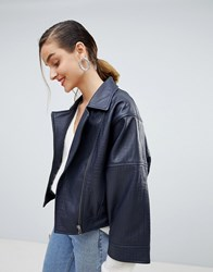 Selected Textured Leather Jacket With Wide Sleeve Navy