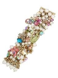 Betsey Johnson Floral And Faux Pearl Statement Bracelet Multi