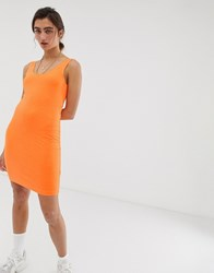Weekday Bubble Bodycon Jersey Dress In Neon Orange