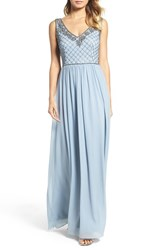 Adrianna Papell Women's V Neck Embroidered Bodice Gown