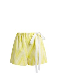 Rochas Chevron Jacquard Cotton Blend Shorts Yellow White