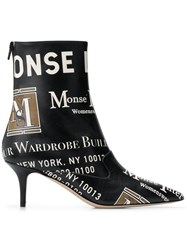Monse Printed Pointed Boots Black