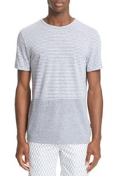 Onia Men's Chad Colorblock Linen T Shirt Mid Heather Grey White
