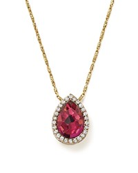 Bloomingdale's Rhodolite Garnet And Diamond Teardrop Pendant Necklace In 14K Yellow Gold 15 100 Exclusive Pink White