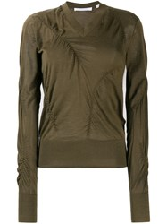 Helmut Lang Ruched Detail Sweater Green
