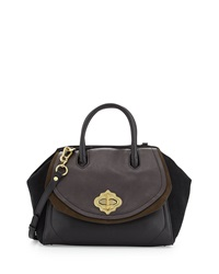Oryany Mindy Leather And Suede Satchel Mahogany Multi