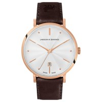 Larsson And Jennings Unisex Aurora Date Leather Strap Watch Brown White Lgn38a Lrbrn Csg Q P Rgw O