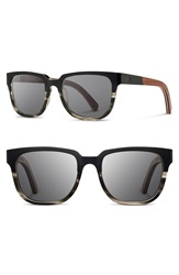 Shwood 'Prescott' 52Mm Titanium And Wood Sunglasses Black Grey Walnut Grey