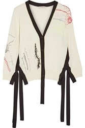 Christopher Kane Two Tone Embroidered Cotton Cardigan Cream
