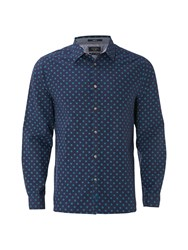 White Stuff Men's Halla Geo Print Long Sleeve Shirt Indigo