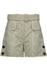 Valentino Belted Broderie Anglaise Cotton Blend Shorts Mint
