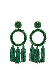 Oscar De La Renta Bead Embellished Clip On Earrings Green