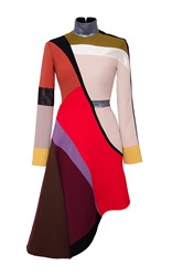 Hussein Bazaza Asymmetrical Colorblocked Dress Red