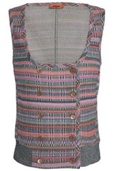 Missoni Double Breasted Metallic Crochet Knit Vest Lilac
