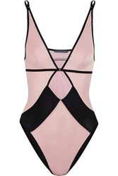 Elle Macpherson Body Vee Cutout Two Tone Stretch Jersey Bodysuit Blush
