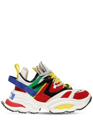 Dsquared The Giant Chunky Leather Sneakers White Green Red