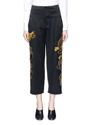Ms Min Sequin Dragon Embroidery Cropped Satin Pants Multi Colour