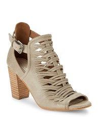 Charles By Charles David Coll Peep Toe Leather Ankle Boots Stone