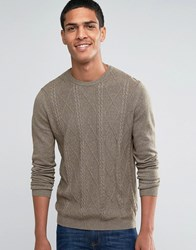 Asos Cable Jumper In Cotton Khaki Grey Twist Green