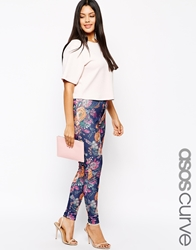 Asos Curve Exclusive High Waist Skinny Tregging In Tapestry Floral Multi