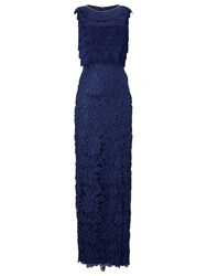 Phase Eight Collection 8 Julianna Fringe Full Length Dress Cobalt