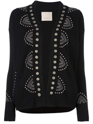 Laneus Studded Detail Cardigan Black